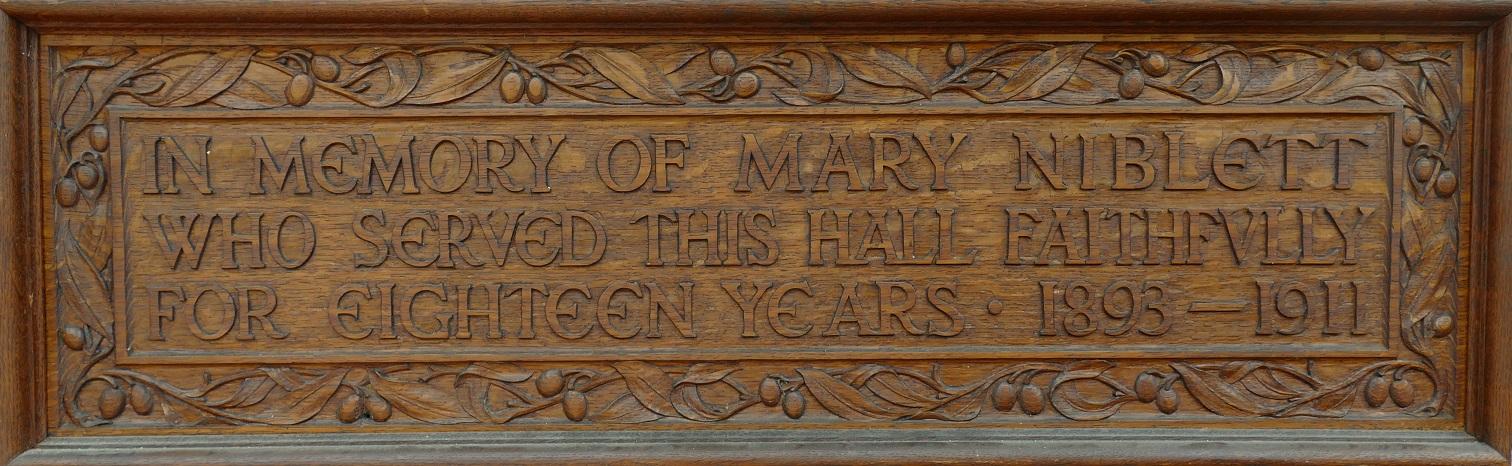 Mary Nisbett plaque