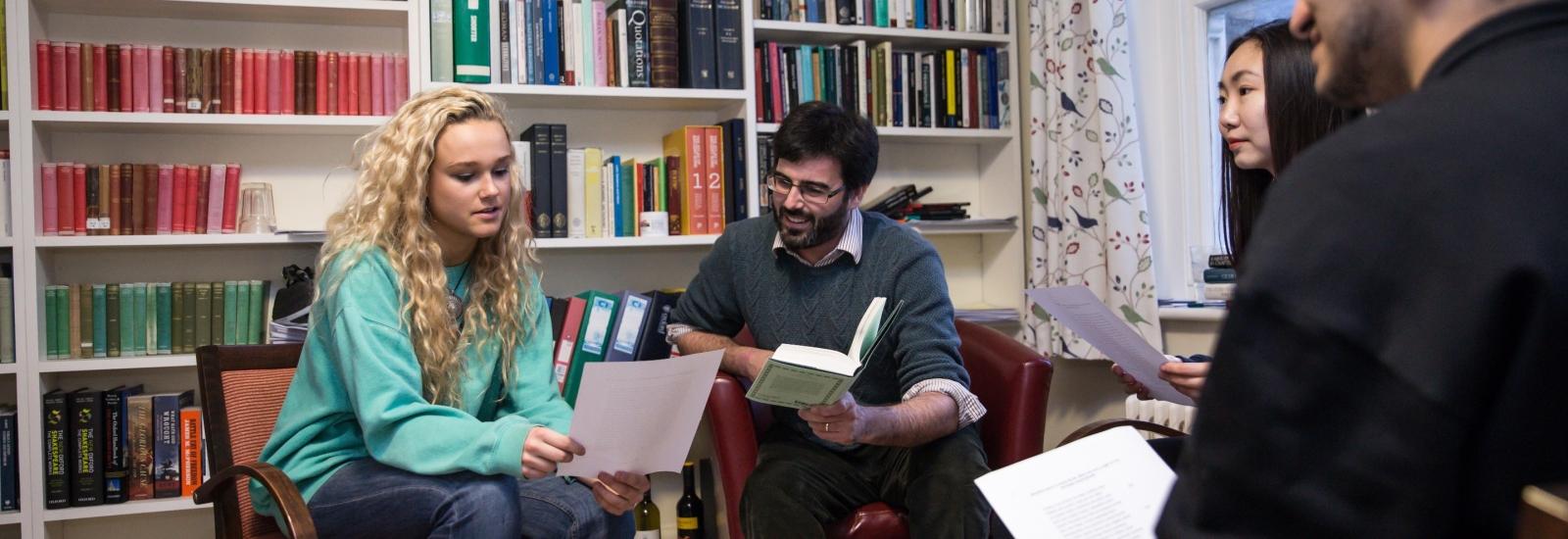 Undergraduates taking part in a Classics tutorial